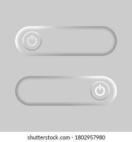 Power button on grey background. Neumorphic design. Neumorphism. On and Off toggle switch buttons