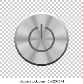 Power button. Vector illustration. Buttons for web. Vector metal silver power button