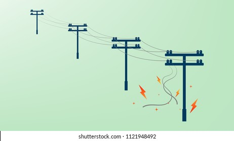 Power cable damaged and short circuit with fire spark on electricity post.