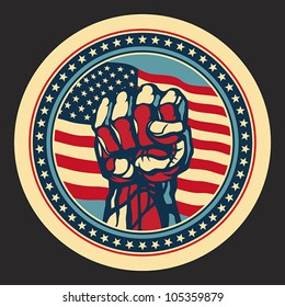 Power concept with USA flag background. EPS 8, CMYK