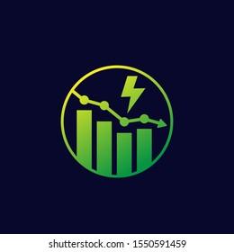 power consumption decrease, reduction icon