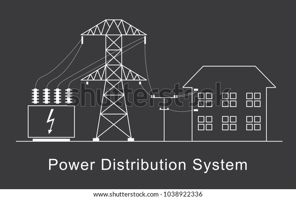 Power Distribution System White Linear Simple Stock Vector (Royalty