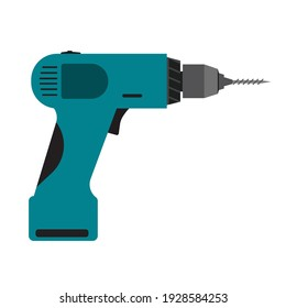 Power drill tool electric equipment isolated white icon vector illustration. Repair instrument power drill tool handle icon. Construction device machine manual instrument builder sign hardware