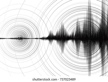 Power of Earthquake Wave with Circle Vibration on White paper background,audio wave diagram concept,design for education and science,Vector Illustration.