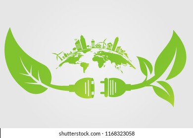 Power ecology plug green cities help the world with eco-friendly concept ideas.vector illustration