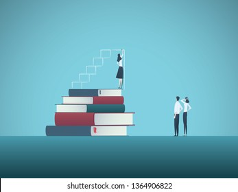 Power of education and knowledge vector concept. Girl, woman standing on top of books drawing steps. Symbol of ambition, motivation, confidence, excellence, talent and skill. Eps10 vector illustration