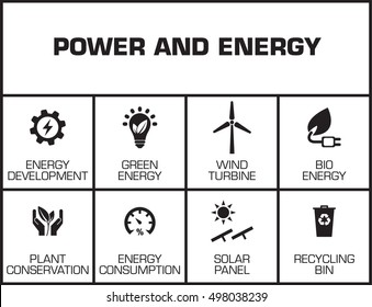 Power and Energy chart with keywords and icons