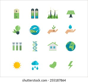 Power energy, eco friendly and green energy icons set