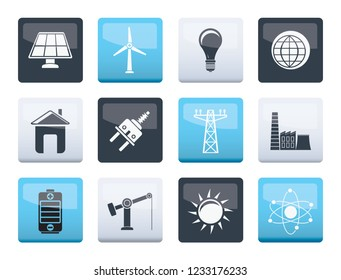 power, energy and electricity icons over color background - vector icon set