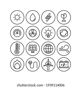 Power and energy flat vector icons set