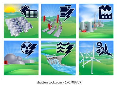 Power or energy generation with icons. Photovoltaic cells solar renewable, oil well pumpjacks, fossil fuel power plant, nuclear,  hydroelectric water dam sustainable and wind turbine wind farm