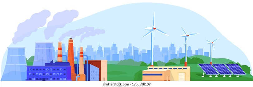 Power energy generator vector illustration. Cartoon flat landscape with power generating plant, nuclear reactor station, wind turbine, solar panel. Alternative eco renewable energy isolated on white