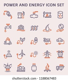 Power and energy icon set, color and outline.
