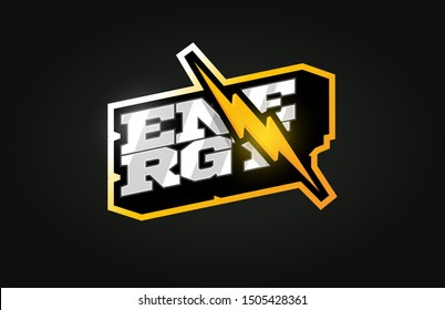 Power energy mascot Modern professional sport Typography in retro style. Vector design emblem, badge and sporty template logo design