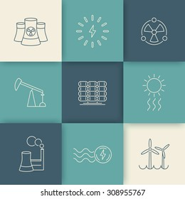 Power, energy production, electric industry, line icons on geometric background, vector illustration, eps10, easy to edit