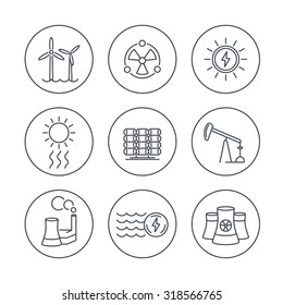 Power, energy production, energetics, electric industry, line icons in circles, vector illustration