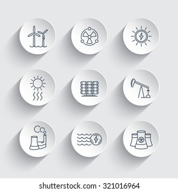 Power, energy production, energetics, solar, nuclear energy, line round icons, vector illustration