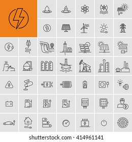 Power Energy Sources Electricity Vector Icons Set
