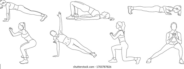Power exercises: lunges, squats, plank, side plank, glute bridge, push-UPS