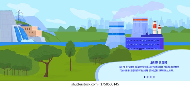 Power factory vector illustration. Cartoon flat landscape with nuclear station, hydroelectric hydropower plant on water dam. Global environmental problem, alternative eco renewable sources background