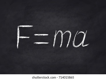 Power formula on the chalk Board, Newton's second law