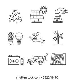 Power generation and ecologic energy thin line art icons set. Modern black symbols isolated on white for infographics or web use.