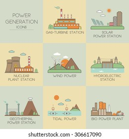 Power generation. Set icons
