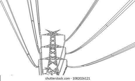 Power Grid vector illustration ( Line art) for projects, covers, web page and many other usage etc.