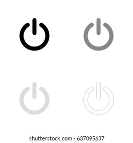 Power icon in black, gray and line art. Vector illustration, easy to edit.