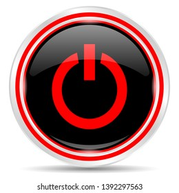 Power icon. Round metal web button, black and red.