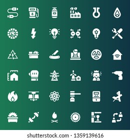 power icon set. Collection of 36 filled power icons included Alternate, Punching bag, Saw, Bonfire, Dumbbell, Bench press, Voltmeter, Hammer, Physics, Lamp, Fire, Driller, Queen