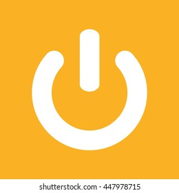 Power icon vector sign. Yellow background