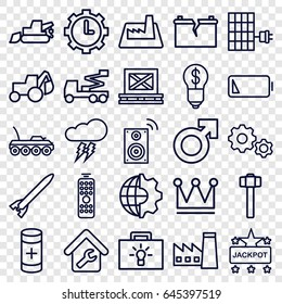 Power icons set. set of 25 power outline icons such as factory, crown, jackpot, excavator, crane, garden hammer, cargo on palette, battery, clock in gear, low battery