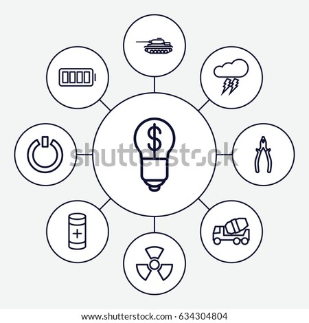Power Icons Set Set 9 Power Stock Vector Royalty Free 634304804