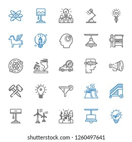 power icons set. Collection of power with renewable energy, lamp, fire, wind turbine, ladder, industry, filter, idea, hammer, protest, creative. Editable and scalable power icons.