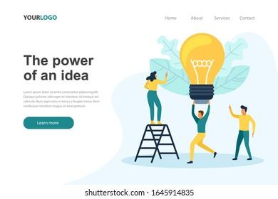 Sitio web de la página de inicio del Poder de la idea. Personas de negocios con una gran bombilla. Ilustración vectorial plana