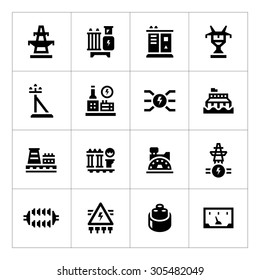 Power industry icon set isolated on white. Vector illustration