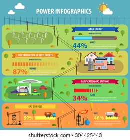 Power infographic set with electrification gasification and clean energy flat vector illustration