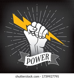 Power Inverted Logo Lettering with Raised Hand or Fist Holding and Gripping Lightning Bolt over Rays Circle Symbolizing Super Human Strength - White on Black Background - Vector Hand Drawn Design