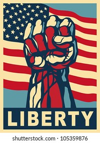 Power of Liberty, concept with USA flag background. EPS 8, CMYK