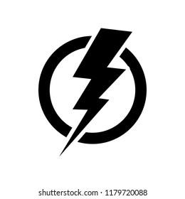 Power lightning logo icon. Vector black thunder bolt symbol isolated