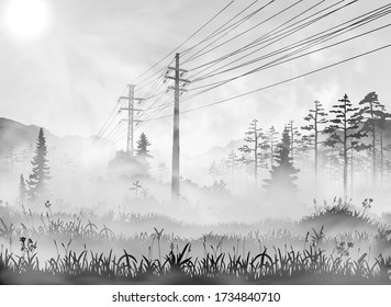 Power line in countryside. Vector realisic illustration of rural area with transmission line passing through the grass field, wood and forest. Black and white peaceful sunny morning foggy picture.