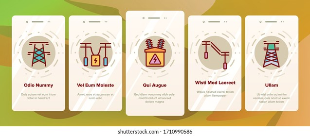 Power Line Electricity Onboarding Icons Set Vector. Power Line Tower And Electric Wire Cord, Transformer And Lightning Mark Illustrations