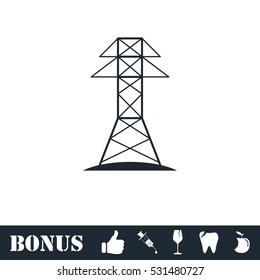 Power line icon flat. Vector illustration symbol and bonus pictogram