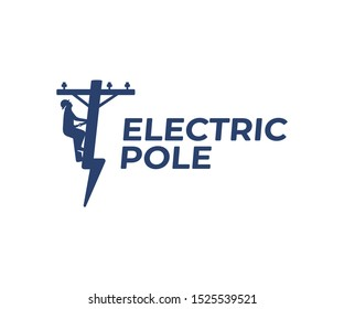 Power line repair logo design. Lineman and lightning bolt vector design. Lightning-shaped electric pole logotype