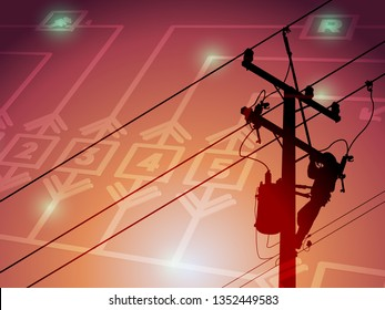 The power lineman closing a transformer on energized high-voltage electric power lines. In order to solve the power outage problem. And have a single line diagram as a background image.