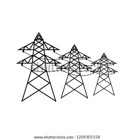 Power Lines Icon Logo On White Stock Vector Royalty Free