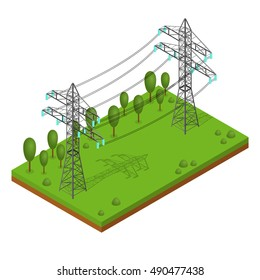 Power Lines Pylons. Landscape Support High Voltage. Isometric View. Vector illustration of high voltage pole power line on a light background.