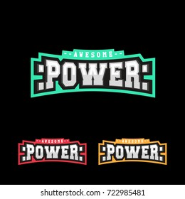 Power logo design. Retro sport strong logotype. Vector emblem