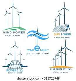 Power making company logo or emblem set. Solar and wind energy generators and turbines. Free font used. Isolated on white background.